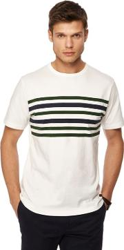 By Patrick Grant Big And Tall White Fulham Chest Stripe Print T Shirt