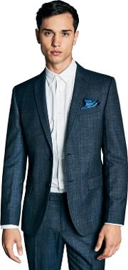 By Patrick Grant Blue Tonal Check Tailored Jacket