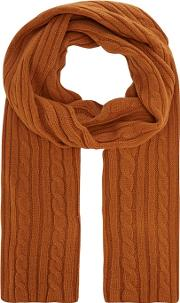By Patrick Grant Camel Cable Knit Scarf With Wool
