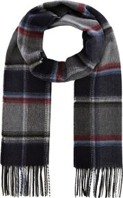 By Patrick Grant Grey Herringbone Check Scarf