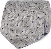 By Patrick Grant Grey Polka Dot Silk Tie
