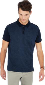 By Patrick Grant Navy Stripe Front Polo Shirt