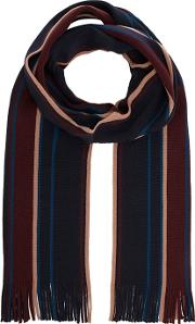 By Patrick Grant Navy Striped Merino Wool Scarf