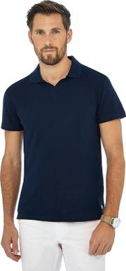 By Patrick Grant Navy Textured Polo Shirt
