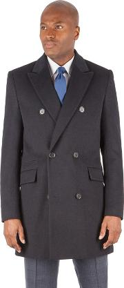 By Patrick Grant Navy Textured Wool Blend Double Breasted Tailored Fit Coat