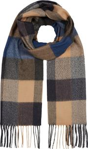 By Patrick Grant Tan And Navy Block Checked Scarf