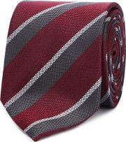 By Patrick Grant Wine Red College Stripe Silk Tie