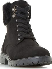 By Dune Black piyah Lace Up Faux Fur Trim Ankle Boots