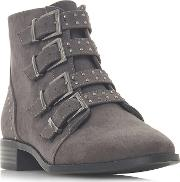 By Dune Grey pamina Block Heel Ankle Boots