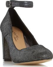 By Dune Silver ariana Ankle Strap Court Shoe