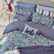 Blue Polyester And Cotton pixie Bedding Set