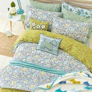 Blue Polyester And Cotton tess Bedding Set