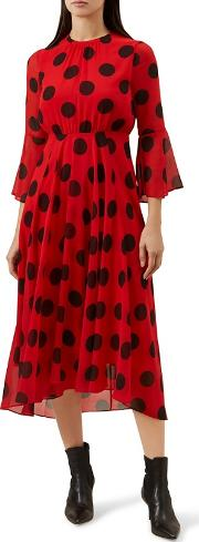 Red Spotted lilia Long Sleeve Midi Dress