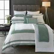 White And Aqua Cotton Sateen 200 Thread Count imperial Duvet Cover