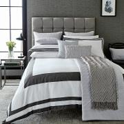 White And Graphite Cotton Sateen 200 Thread Count imperial Duvet Cover
