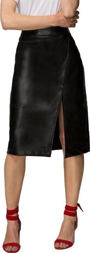 Black Leather Look Wrap Skirt In Clever Fabric