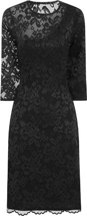 Black One Sleeved Thermal Lace Dress In Clever Fabric