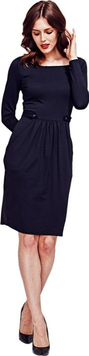 Black Square Necked Pinafore Jersey Dress In Clever Fabric
