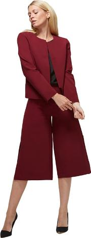 Burgundy Easy Care Culottes In Clever Fabric