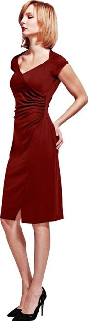 Burgundy Raglan Sleeves Dress In Clever Fabric