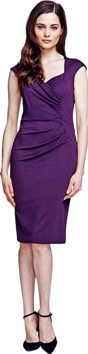 Damson Short Sleeved Dress In Clever Fabric