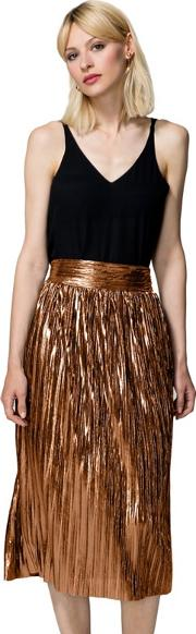 Gold Metallic Pleated Midi Skirt With Clever Lining
