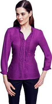 Long Sleeved Berry Pleat Blouse In Clever Fabric