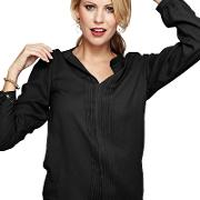 Long Sleeved Black Pleat Blouse In Clever Fabric
