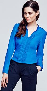 Long Sleeved Cobalt Pleat Blouse In Clever Fabric