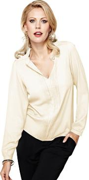 Long Sleeved Cream Pleat Blouse In Clever Fabric