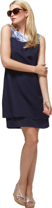 Navy Double Layered Dress In Coolfresh Fabric