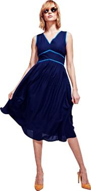 Navy Retro Crepe Sundress In Coolfresh Fabric