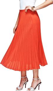 Orange Pleat Skirt In Clever Fabric
