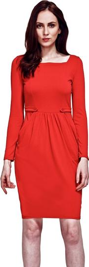 Red Square Necked Pinafore Dress In Clever Fabric