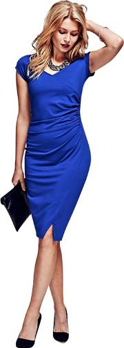 Royal Blue Raglan Sleeve Dress In Clever Fabric