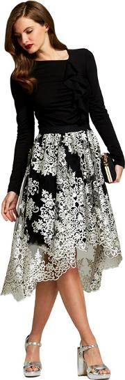 Silver Embellished carrie Midi Skirt