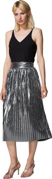 Silver Metallic Pleated Midi Skirt With Clever Lining