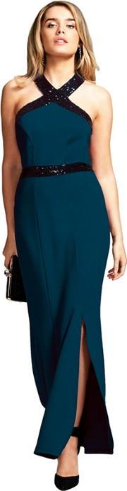 Teal Sequined Halterneck Maxi Evening Gown