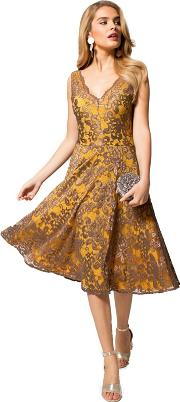Yellow And Brown Floral Lace V Neck Dress