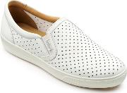 White Leather daisy Slip On Trainers