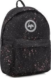Black Paint Speckle Print Backpack