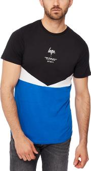 Blue Colour Block Cotton T Shirt