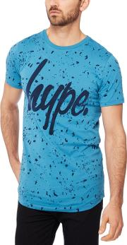 Blue Flocked Speckle Cotton T Shirt