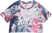 Girls Multicoloured Tropical Floral Print Crop Top