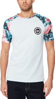 Light Blue Floral Raglan Sleeve T Shirt