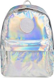 Silver Holographic Embroidered Logo Backpack