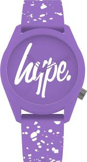 Unisex Purple And White Analogue Silicone Strap Watch Hyl001vw
