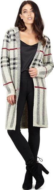Beige Checked Tie Front Knit Cardigan