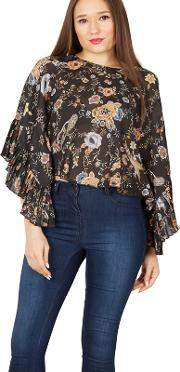 Black Floral Peacock Frill Sleeve Blouse Top