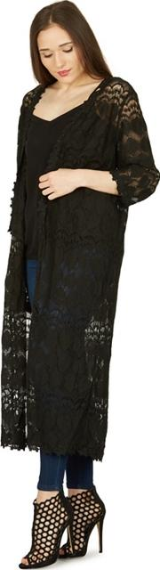 Black Long Length Lace Cardigan
